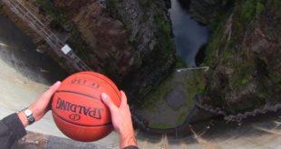 Какво ще стане, ако хвърлите баскетболна топка от язовирна стена? Ефектът е изненадващо невероятен!